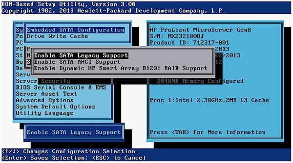 HP MicroServer Bios Gen8 Raid-Mode