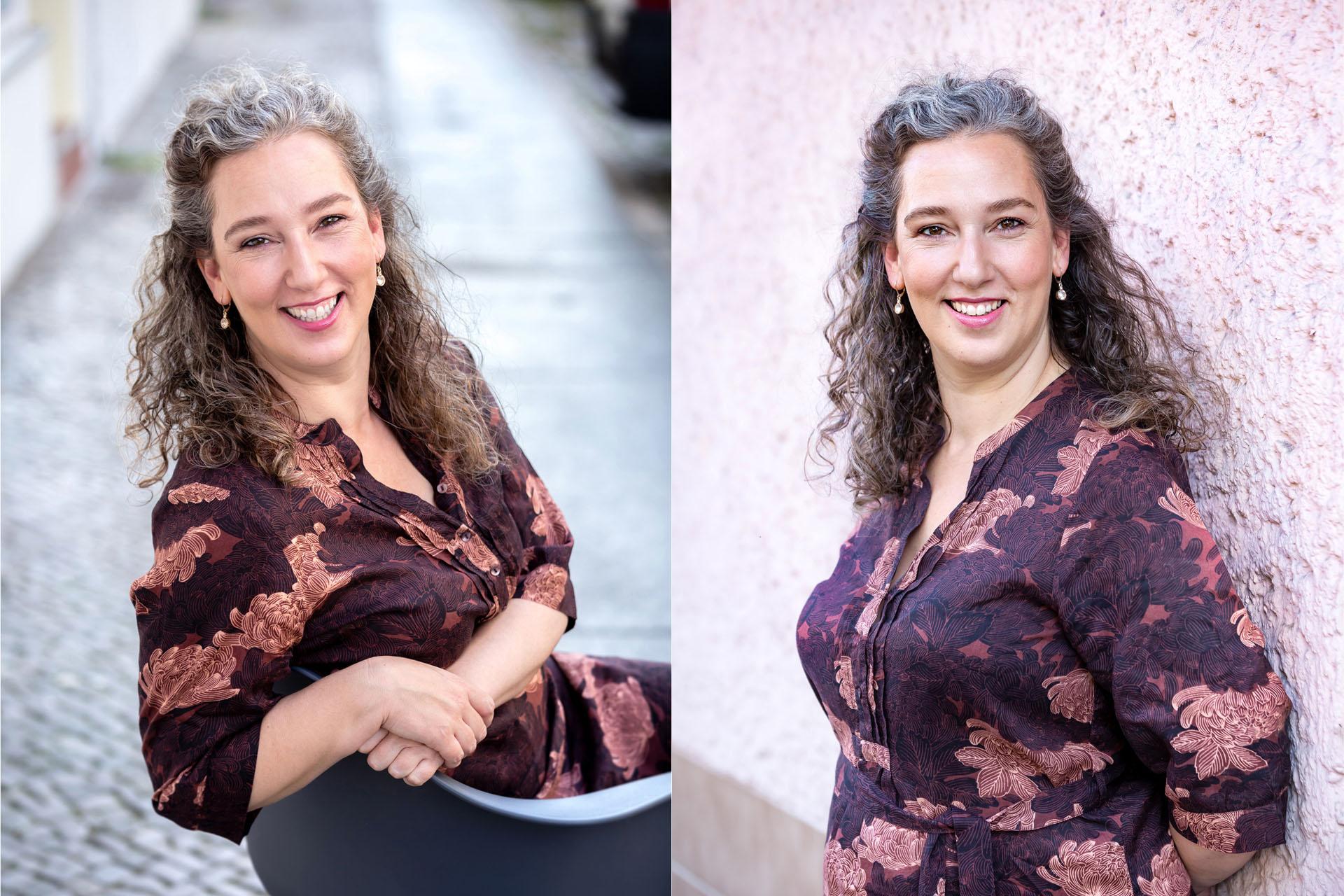sympathische Businessfrau Portraitfoto outdoor